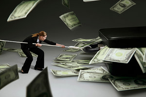 Woman surrounded by money pulling a rope IR35 and retainer